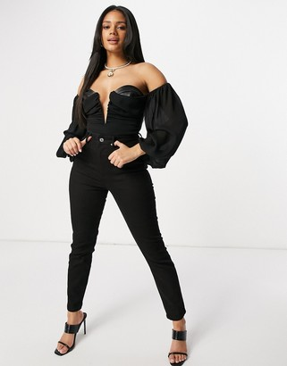 ASOS LUXE chiffon puff sleeve draped leather look body in black