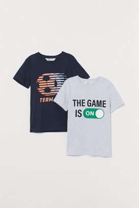H&M 2-pack Printed T-shirts - Blue