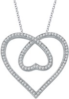 Lafonn Platinum Plated Sterling Silver Simulated Diamond Open Heart Pendant Necklace