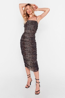 Nasty Gal Womens She's a Wild One Leopard Ruched Midi Dress - Gold