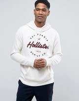 Hollister Logo Print Hoodie Regular Fit In White