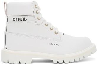 Heron Preston White Reflective Worker Boots