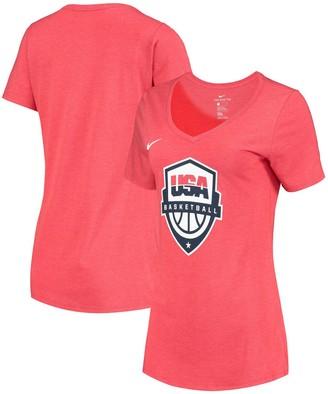 Nike Women's Heathered Red USA Basketball Team Logo Tri-Blend V-Neck T-Shirt