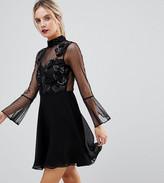 Asos Fluted Sleeve Embellished Dobby Skater Dress