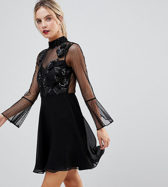 ASOS Fluted Sleeve Embellished Dobby Skater Dress