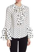 Gracia Ruffle Polka Dot Bell Sleeve Blouse