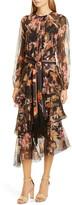 Zimmermann Wavelength Floral Long Sleeve Asymmetrical Silk Midi Dress