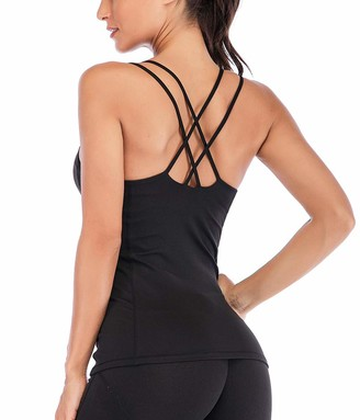 Snailify Women's Strappy Yoga Tank Built in Bra Workout Top Halter Open Back Black