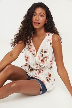 Ardene Floral Zipped Sleeveless Blouse