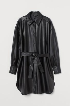 H&M Faux Leather Shirt Dress - Black