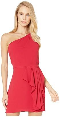 Halston One Shoulder Drape Front Dress (Carmine) Women's Dress