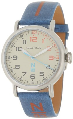 Nautica Men's Wakeland Leather Strap Watch, 40mm