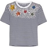 Miu Miu Embellished Striped Cotton-jersey T-shirt - Midnight blue
