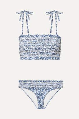 Tory Burch Costa Smocked Floral-print Bikini - Blue