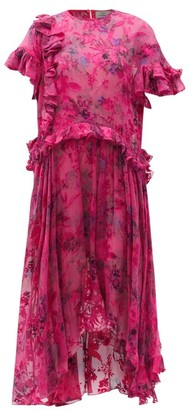 Preen by Thornton Bregazzi Isamu Asymmetric Floral-devore Satin Dress - Pink Multi