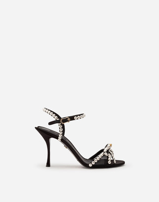 Dolce & Gabbana Satin Sandals With Pearl Application