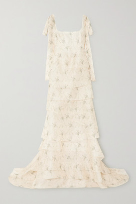Brock Collection Tiered Floral-print Silk-organza Gown - Pastel yellow