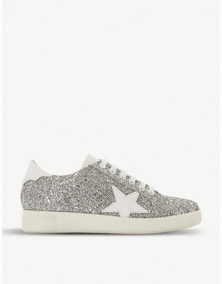 Dune Edris glitter and leather trainers