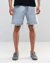 Weekday Love Regular Denim Shorts Raw Hem in Blue Beat Light Wash