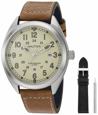Nautica Men's Battery Park Stainless Steel Japanese-Quartz Leather Strap Brown 21 Casual Watch (Model: NAPBTP008