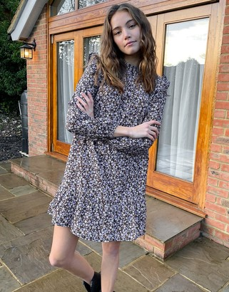 New Look high neck smock mini dress in purple floral print