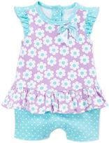 Weeplay Kids Purple & Blue Floral Dress & Shorts - Infant