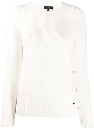 Fay Button-Detail Ribbed Sweater