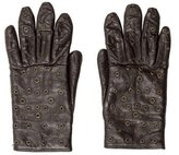 Dolce & Gabbana Leather Grommet-Embellished Gloves