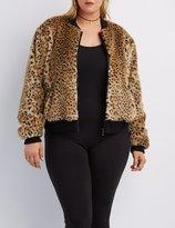 Charlotte Russe Plus Size Leopard Faux Fur Bomber Jacket