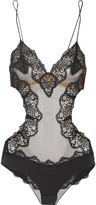 La Perla Edenic corded lace, tulle and silk-blend satin bodysuit