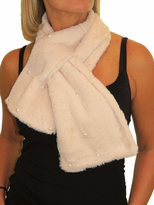 Icecoolfashion Women's Faux Fur With Pearls Scarf Neck Warmer Collar Wrap Snood Super Soft Champagne Beige
