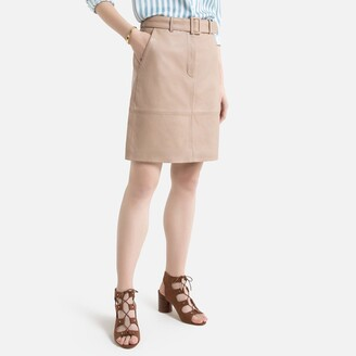 La Redoute Collections Short Leather Skirt with Belt