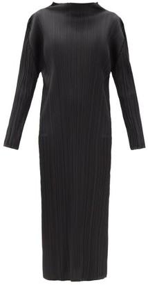 Pleats Please Issey Miyake High-neck Technical-pleated Midi Dress - Black