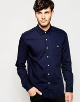 Peter Werth Textured Formal Shirt In Slim Fit - Blue