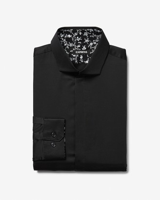 Express Slim Sateen Patterned Cuff Dress Shirt