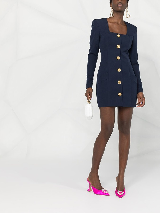 Thumbnail for your product : Balmain Short Buttoned Square Neck Dress