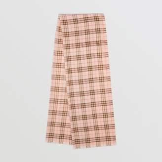 Burberry Metallic Check Wool Silk Blend Scarf