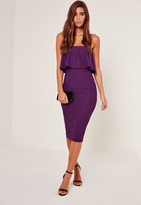 Missguided Bandeau Frill Detail Midi Dress Purple