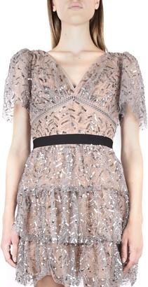 Self-Portrait Sequin Embellished Flared Dress