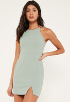Missguided Petite Exclusive Sage Green Mini Dress