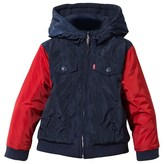 Levi's Navy and Red Hooded Trucker Jacket