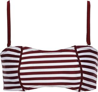 Duskii Claudia Striped Neoprene Bandeau Bikini Top