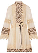 Tory Burch Carlotta Lace-trimmed Embroidered Cotton-voile Mini Dress - Off-white