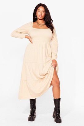 Nasty Gal Womens Tiers to the Good Times Plus Puff Maxi Dress - Brown - 16
