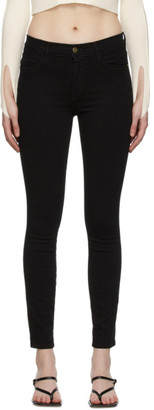 Frame Black Le High Skinny Raw Stagger Jeans