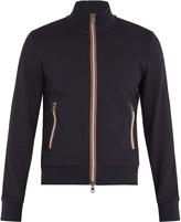 Moncler Striped-trim zip-through cotton sweater