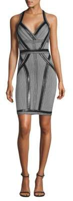 Herve Leger Epoxy Beaded Jacquard Cocktail Dress
