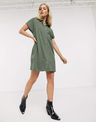 Asos Design DESIGN cotton slubby shirt dress in khaki-Green