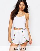Liquor & Poker Crop Cami Top With Multicoloured Pom Pom Trim