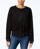 Tommy Hilfiger Mixed-Media Drawstring-Hem Sweater, Only at Macy's
